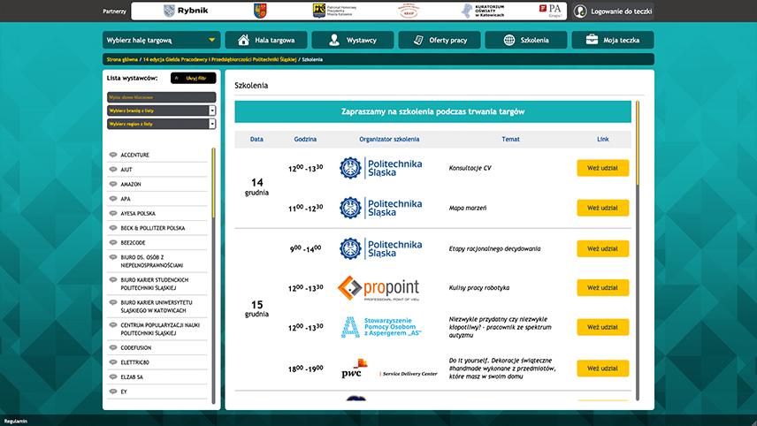 Schedule of webinars